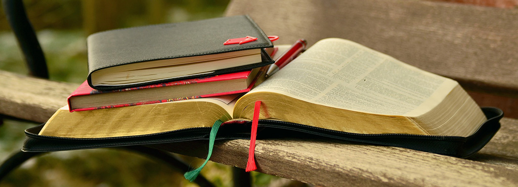 Denver Bible studies - picture of books on bench